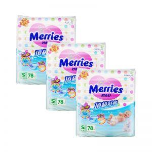 Merries Premium Tape Diapers Small 78s (3Packs)