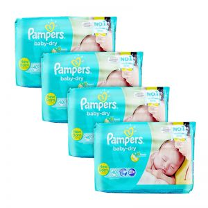 Pampers Baby-Dry Diapers Newborn 40S x4Packs