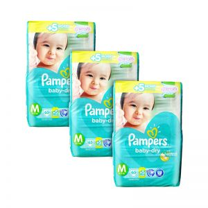 Pampers Baby-Dry Diapers Medium 65+5S x3Packs