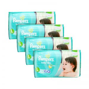 Pampers Baby-Dry Diapers Large 46S x4Packs