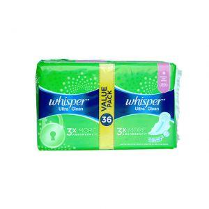 Whisper Ultra Clean Regular Flow Wings 24cm 36S Value Pack