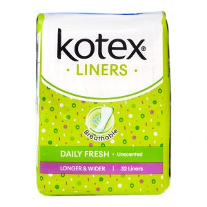 Kotex Fresh Liners Longer and Wider Unscented 32S