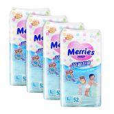 Merries Premium Tape Diapers Large 52s (4Packs)