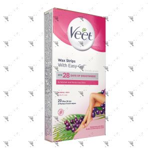 Veet EasyGrip Wax Strips Legs & Body - Normal Skin (20s)