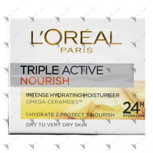 L'Oreal Triple Active Nourish Moisturizer 50ml Dry/Very Dry Skin