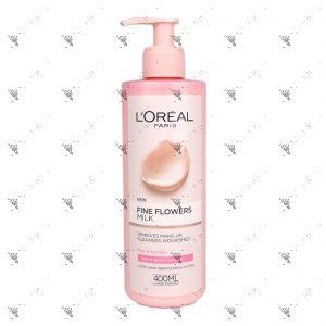 L'Oreal  Fine Flowers Make-Up Removing Milk 400ml For Dry & Sensitive Skin