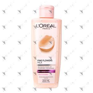 L'Oreal Fine Flowers Make-Up Melting Milk 200ml for Dry & Sensitive Skin