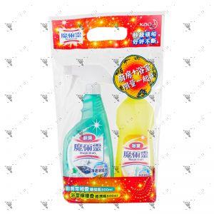 Kao Magiclean Cleaner Set (Kitchen Lime Trigger 500ml+Bathroom Lemon Refill 500ml)