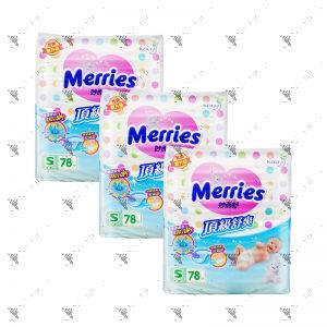 Merries Premium Tape Diapers Small 78s (3Packs)