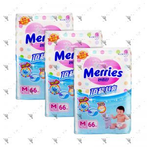 Merries Premium Tape Diapers Medium 66s (3Packs)