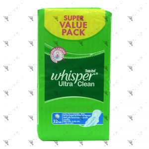 Whisper Ultra Clean Heavy and Overnight Wings Sanitary Pad 32s