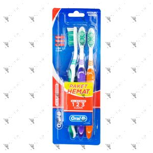 Oral-B All Rounder 123 Clean Toothbrush - Medium (2+1pc)