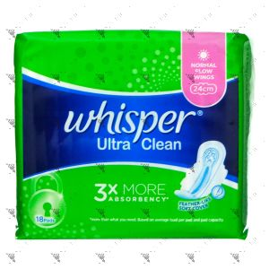 Whisper Ultra Clean Normal Day Wings 24cm 18s