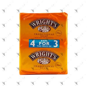 Wright's Traditional Coal Tar Bar Soap 125gX4