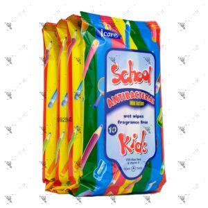 Icare Kids Antibacterial Wet Wipes Fragrance Free 10sx4pack