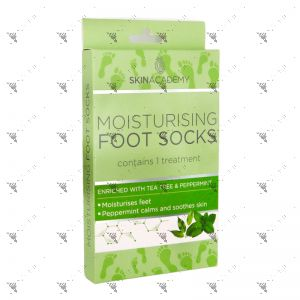 Skin Academy Moisturising Foot Socks 1 Pair W/Tea Tree & Peppermint