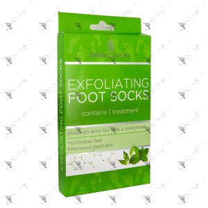 Skin Academy Exfoliating Foot Socks 1 Pair W/Tea Tree & Peppermint