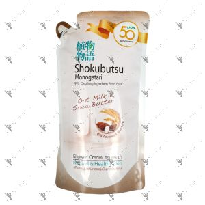 Shokubutsu Shower Cream Refill 500ml Oat Milk and Shea Butter