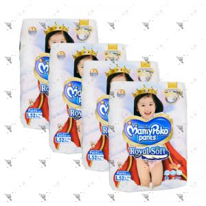 MamyPoko Royal Soft Pants (Girls) Large 52S (1Carton=4pack)