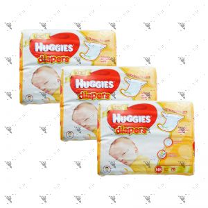 Huggies Gold Diapers New Born 78S (1Carton=3pack)