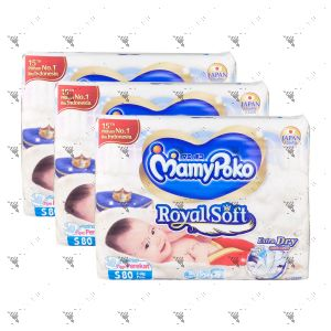 MamyPoko Royal Soft Tape Diaper Small 80S (1Carton=3pack)