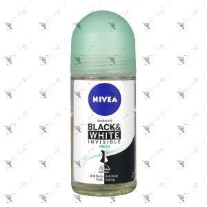 Nivea Roll-On Deodorant 50ml Invisible for Black & White Pure Fresh