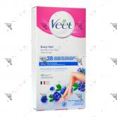 Veet Easy-Gel Wax Strip Kit Sensitive Skin Leg & Body 40s+4Wipes