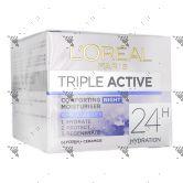L'Oreal Triple Active Night Moisturiser 50ml Hydration All Skin Types