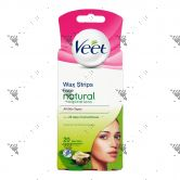 Veet Face Wax Strips 20s + 4 Wipes All Skin Types