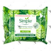 Simple Kind To Skin Biodegradable Cleansing Wipes 20s