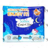 Softex Comfort Slim 36cm Night Wing 12s Hello Kitty